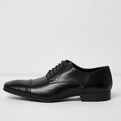 Black leather cap toe derby shoes