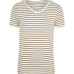 T-shirt ajusté rayé crème à manches courtes