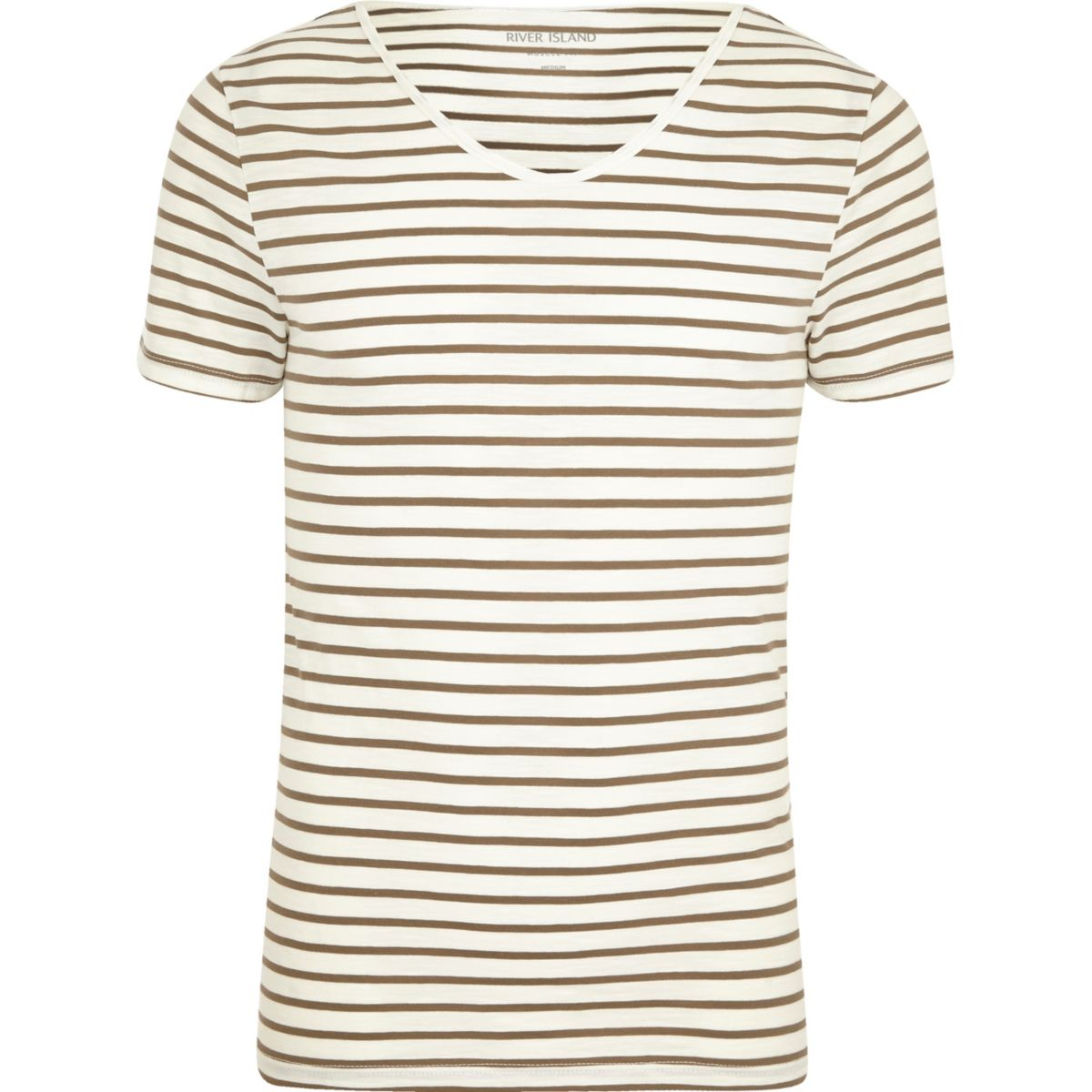 Cream stripe short sleeve muscle fit T-shirt