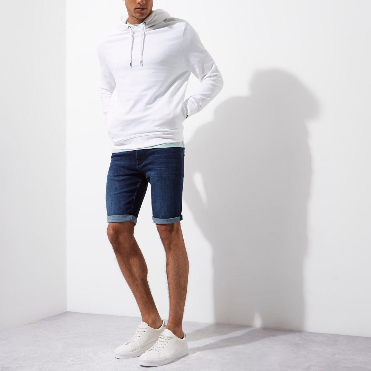 Dark blue wash skinny denim shorts