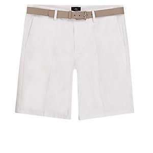 White belted chino shorts