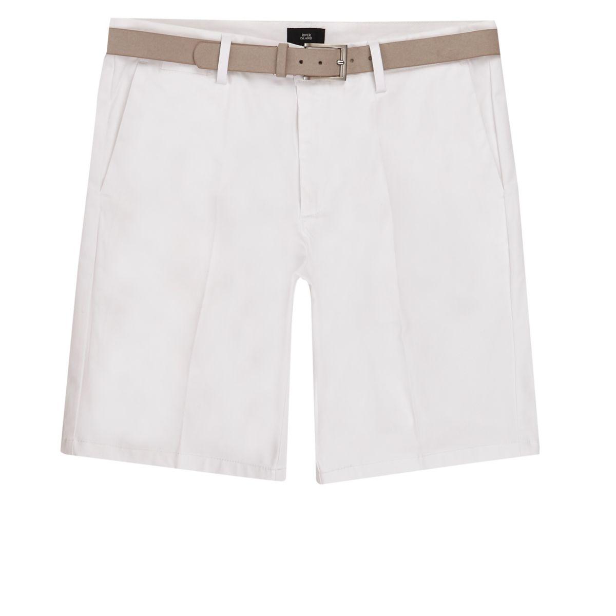 White belted chino shorts