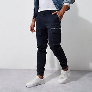 Navy skinny fit cargo pants
