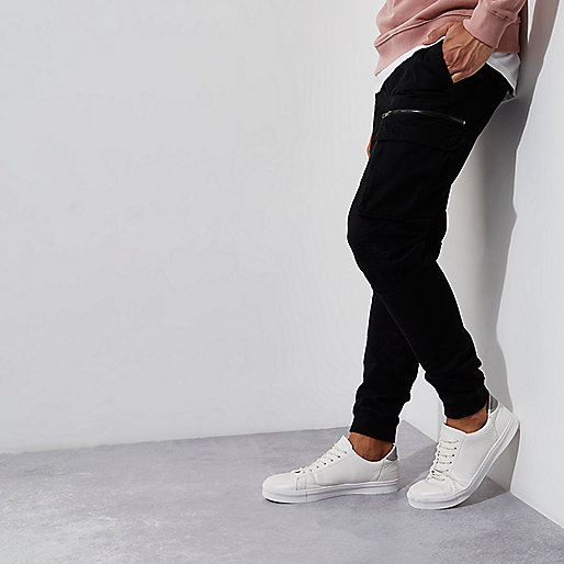 Black cargo skinny fit pants