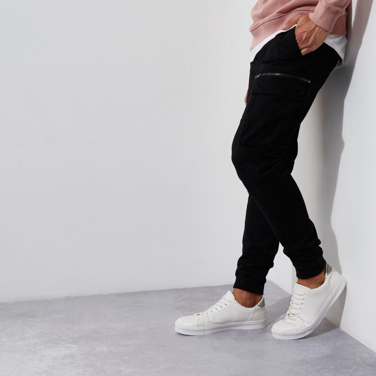 Black cargo skinny fit pants
