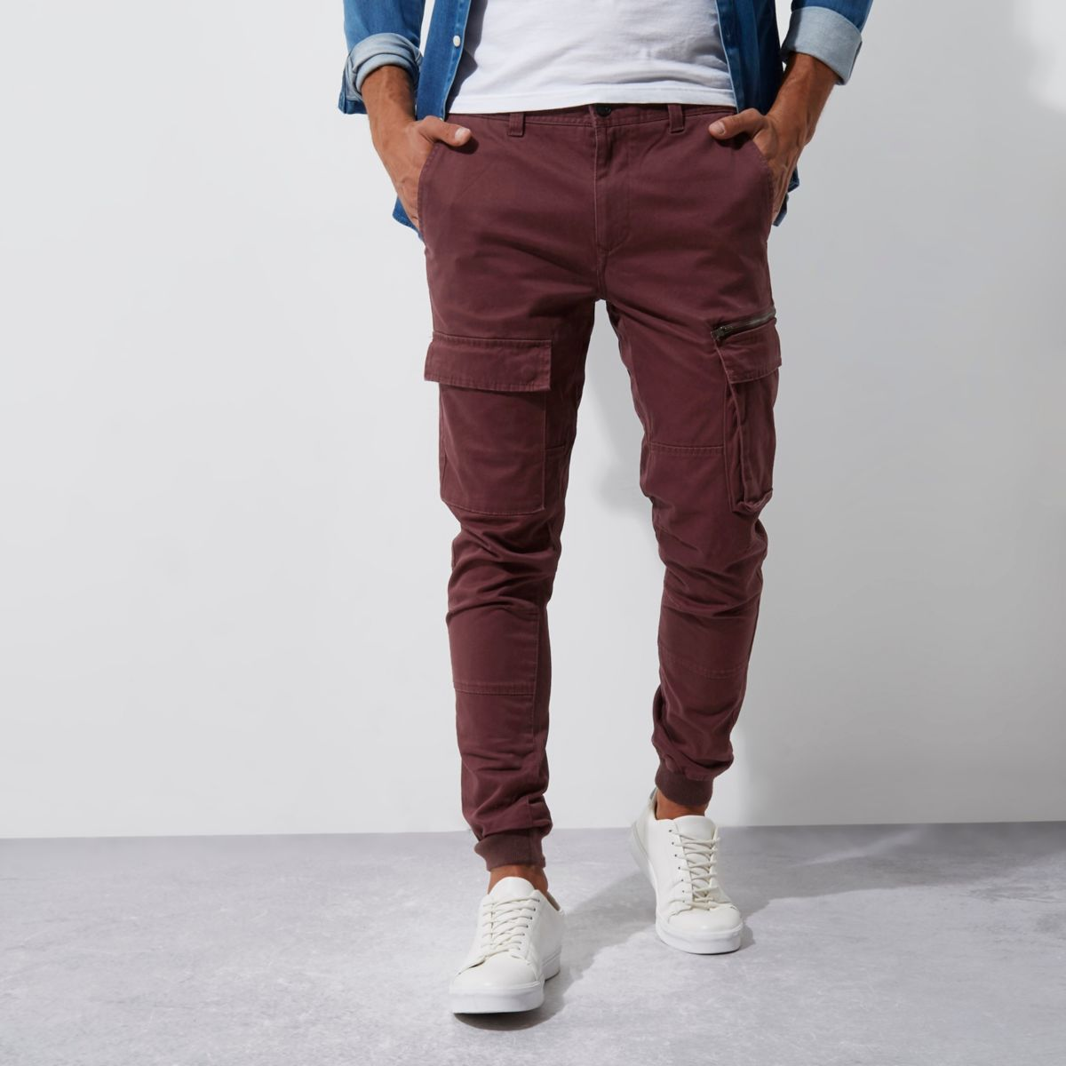 Dark red skinny fit cargo trousers