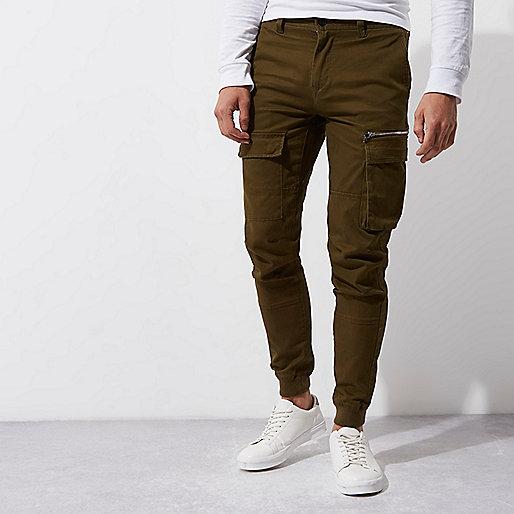 Dark khaki green skinny fit cargo trousers