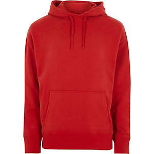 Sweat à capuche oversize rouge