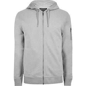Big and Tall – Sweat à capuche gris chiné zippé