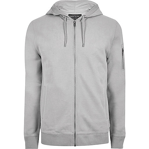 Big and Tall grey marl zip front hoodie