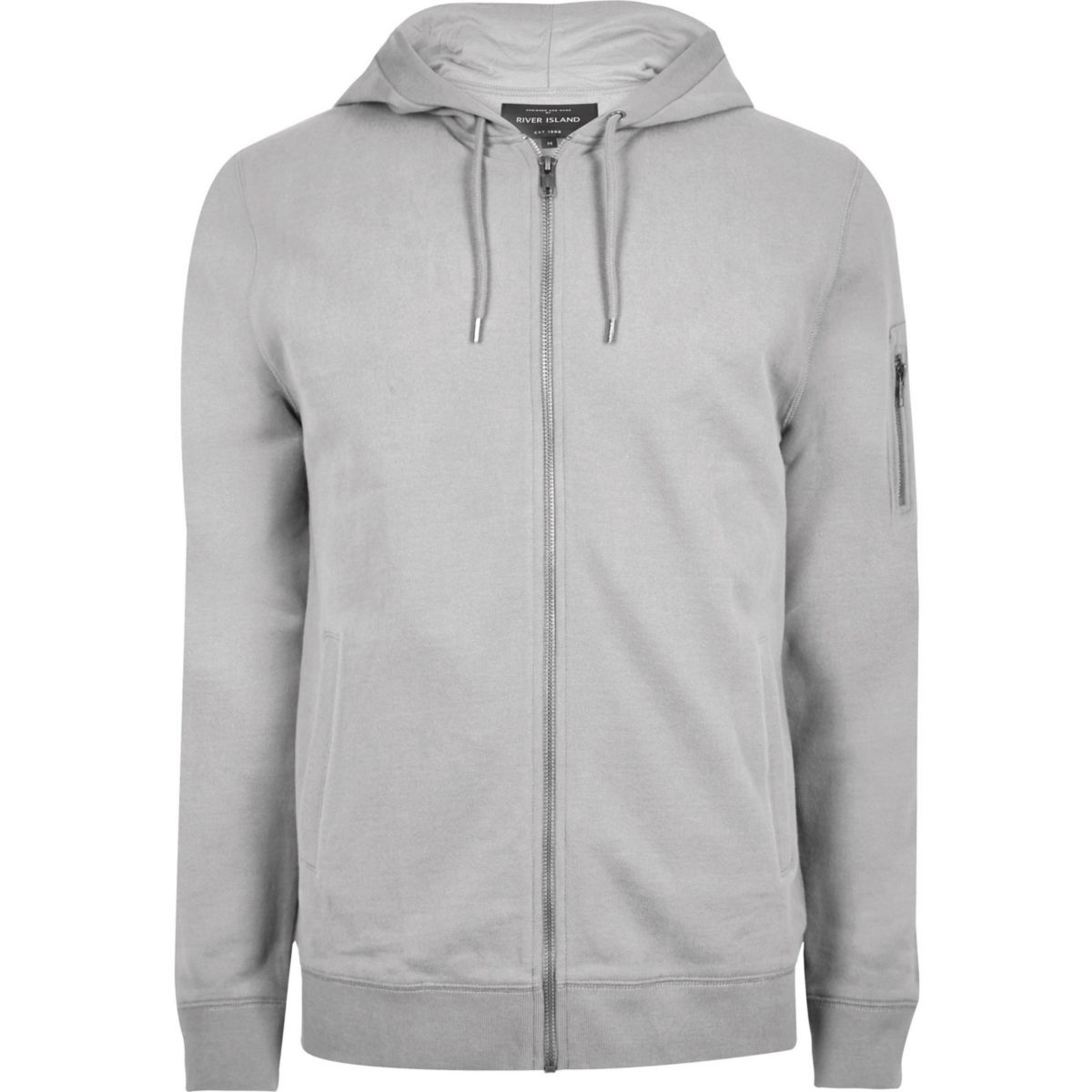 Big and Tall – Sweat à capuche gris chiné zippé