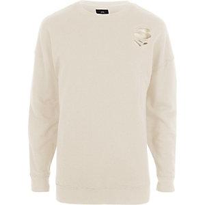 Crème oversized sweatshirt met scheuren