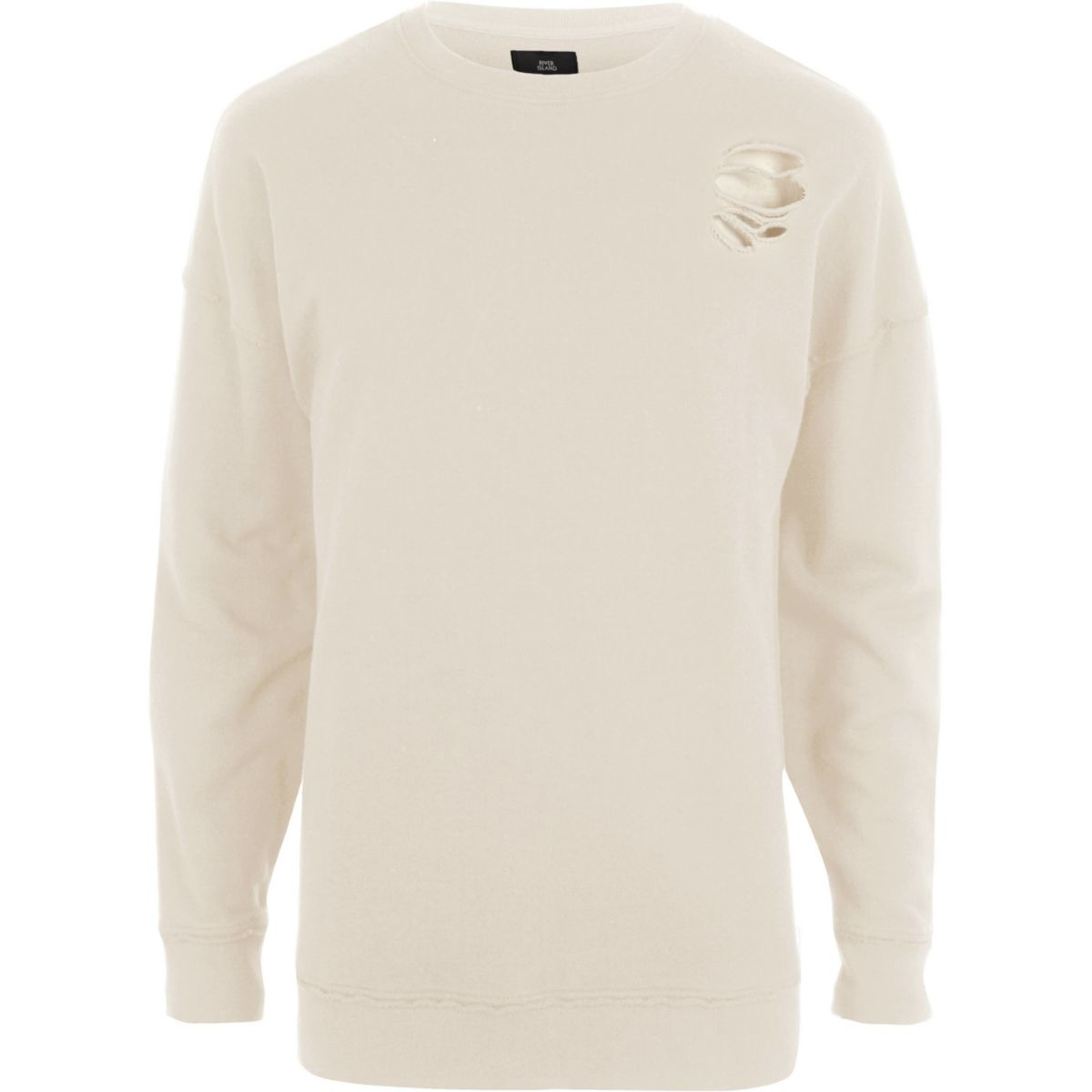 Cream ripped oversized sweatshirt