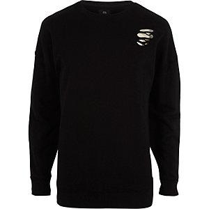Zwart oversized sweatshirt met scheuren