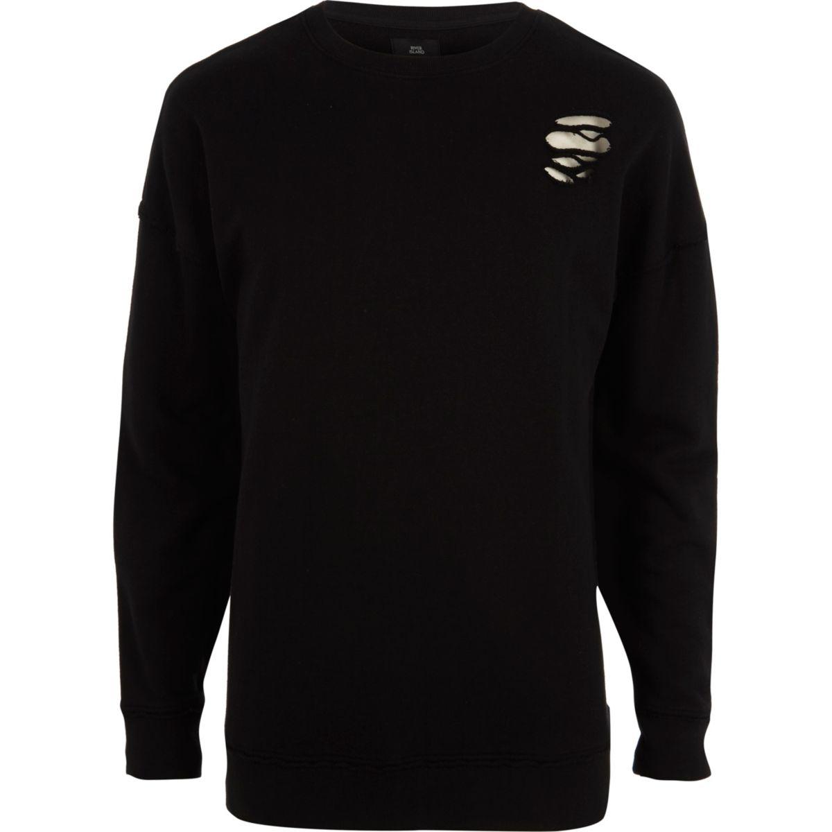 Black ripped oversized sweatshirt