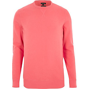Koraalrood aansluitend sweatshirt met lange mouwen