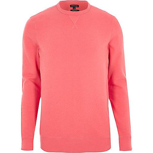 Coral muscle fit long sleeve sweatshirt