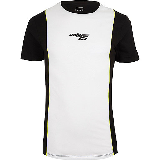 White 'Auto 75' print muscle fit T-shirt