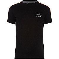 Black mesh panel muscle fit T-shirt