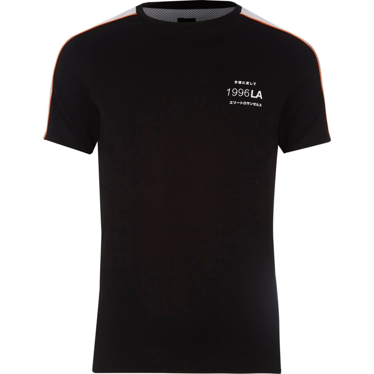 Black mesh panel muscle fit T-shirt