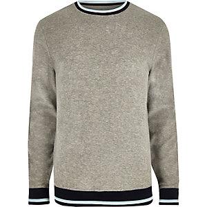 Graues Frottee-Sweatshirt mit Paspelierung