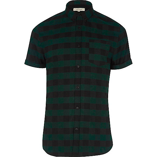 Green check short sleeve muscle fit shirt