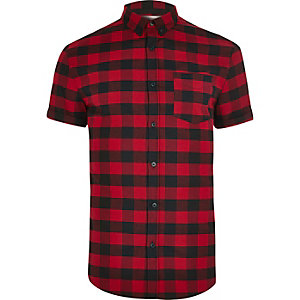 Red check short sleeve muscle fit shirt
