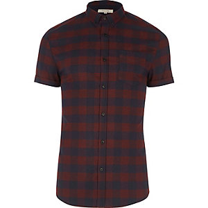 Purple check short sleeve muscle fit shirt