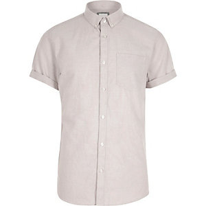 Chemise casual crème boutonnée à manches courtes