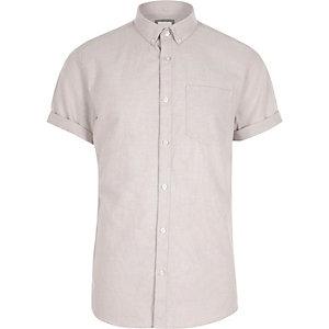 Crème casual overhemd met knopen en korte mouwen