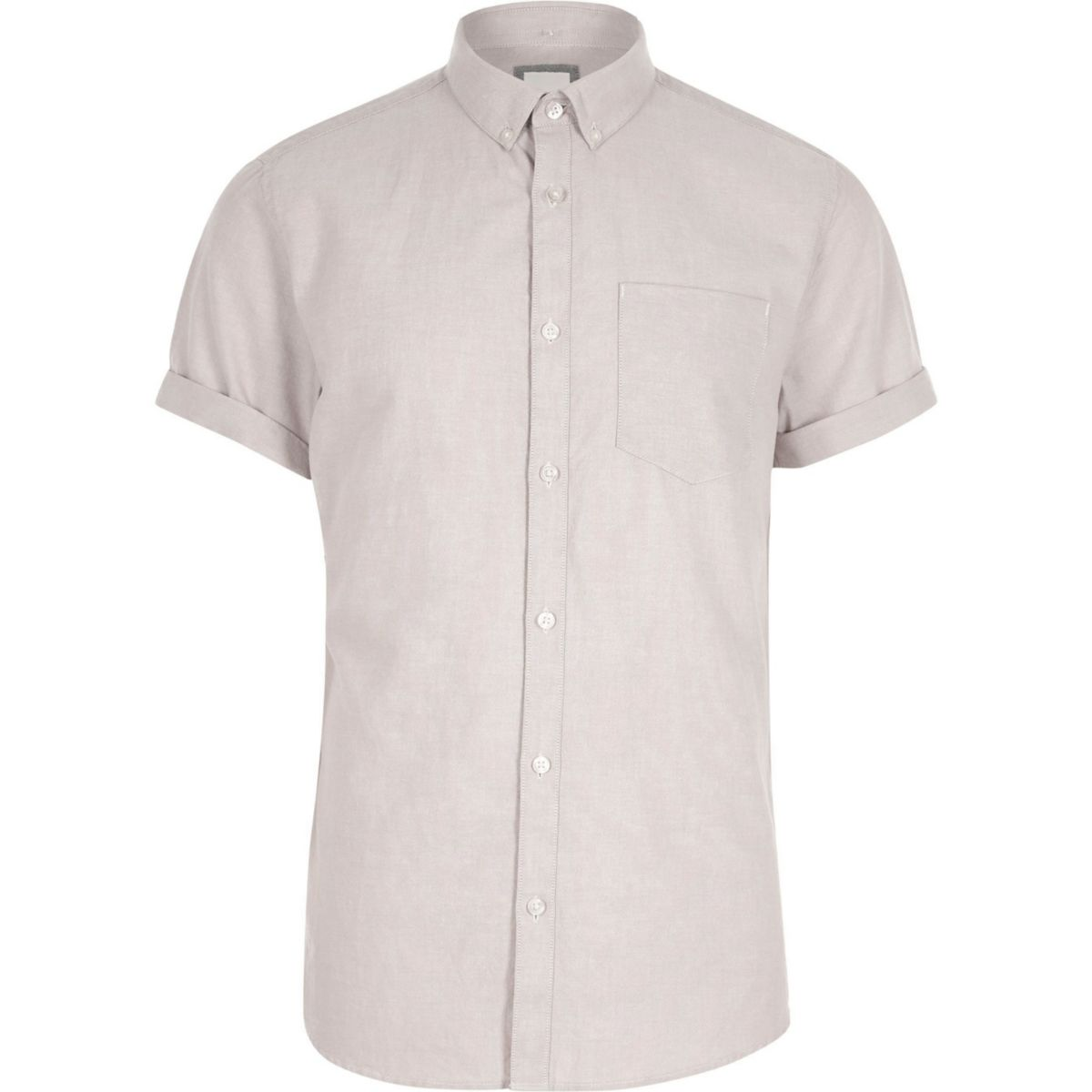 Cream short sleeve button-down casual shirt