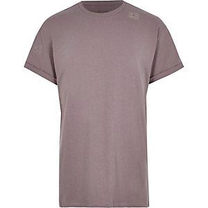 Donkerroze oversized T-shirt met korte mouwen