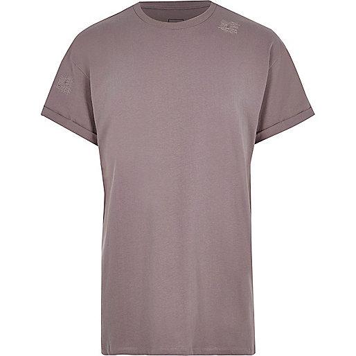 Dark pink oversized short sleeve T-shirt