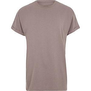 Kurzärmliges Oversized-T-Shirt in Dunkelpink