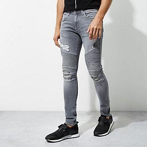 Grey Sid skinny biker jeans