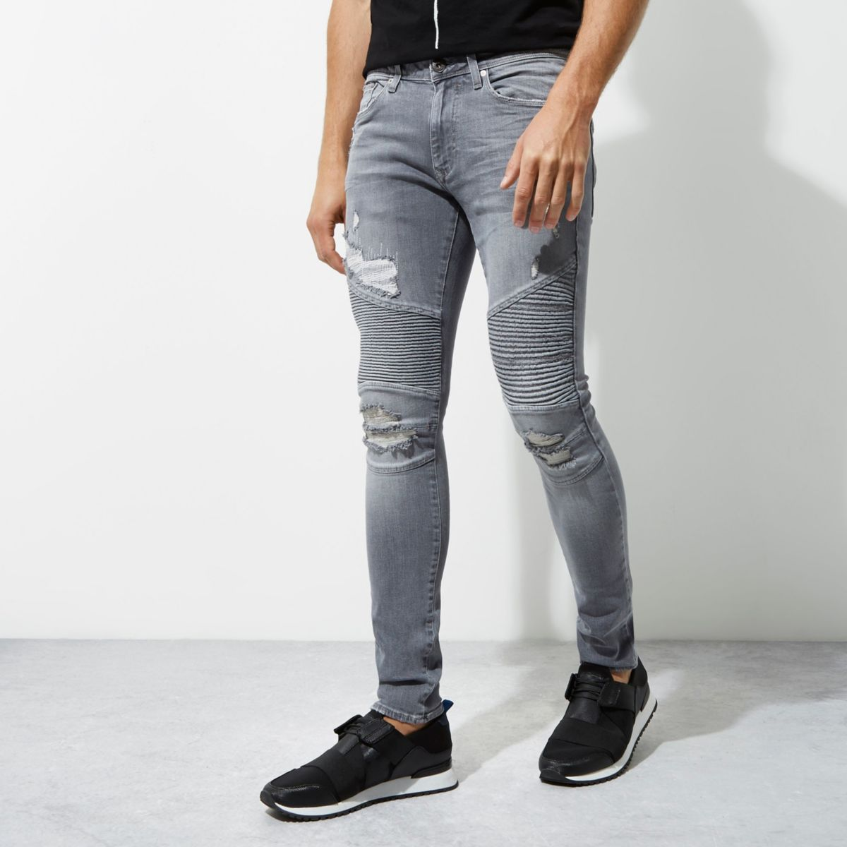 sid graue skinny biker jeans jeans sale herren. Black Bedroom Furniture Sets. Home Design Ideas