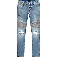 Blue distressed Sid skinny biker jeans