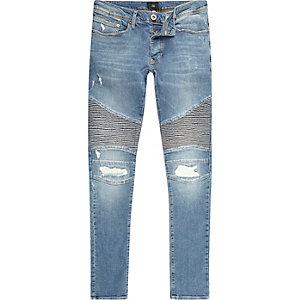 Mid blue Danny super skinny biker jeans