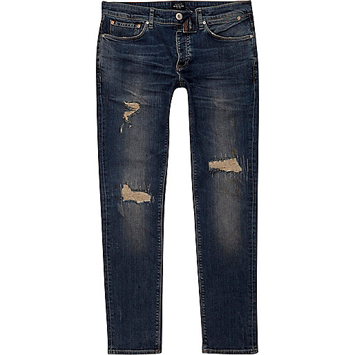 sid dunkelblaue skinny jeans im used look skinny jeans. Black Bedroom Furniture Sets. Home Design Ideas