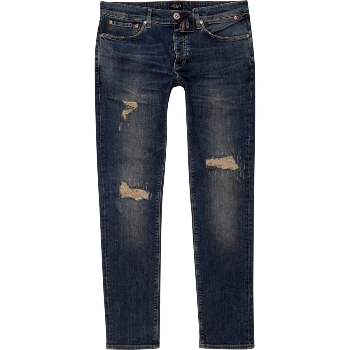 Dark blue Sid ripped skinny jeans
