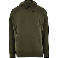 Dark green distressed hoodie