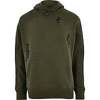 Dark green distressed hoodie