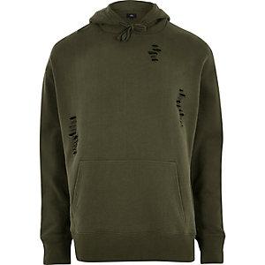 Donkergroene distressed hoodie
