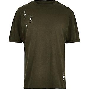 T-shirt vert foncé à découpes et épaules tombantes