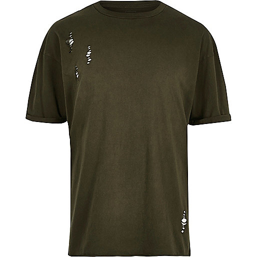 Dark green laddered drop shoulder T-shirt