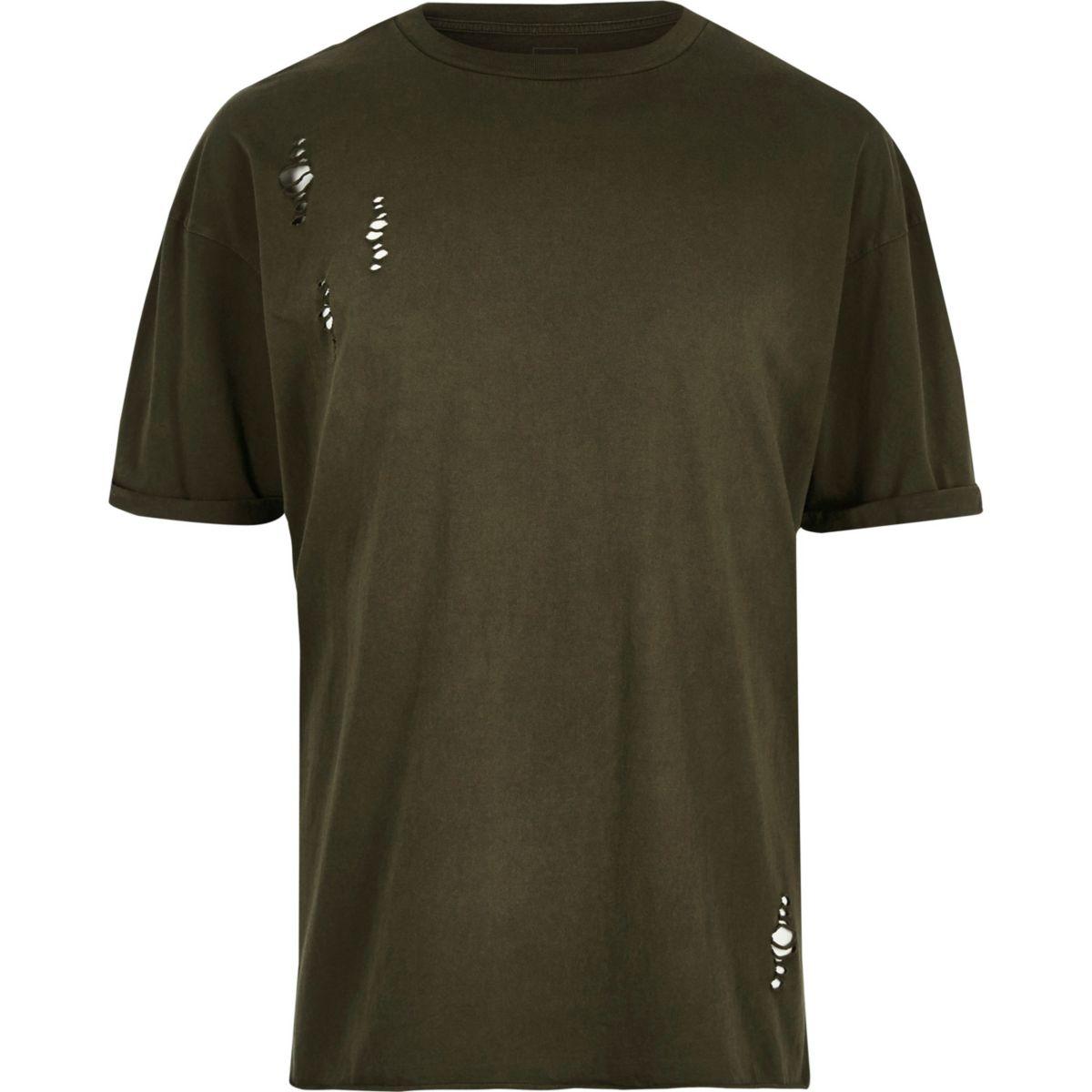 Dark green laddered drop shoulder T-shirt