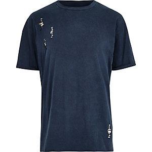 T-shirt bleu à découpes et épaules tombantes