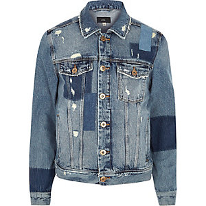 Blue distressed patchwork denim jacket