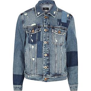 Veste en jean usé bleue effet patchwork