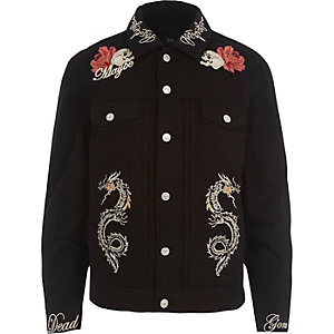 Black skull embroidered denim jacket
